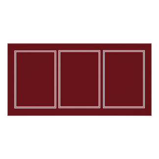 Double White Shadowed Border on Royal Rose Red Personalized Photo Card