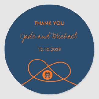 Double Xi Orange + Navy Knot Thank You Gift Label Round Sticker