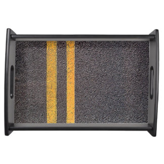 Double Yellow Road Lines Serving Tray