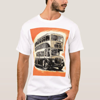 Doubledecker Bus Coach UK Vintage Retro T-Shirt