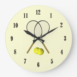 Doubles Tennis Sport Theme Large Clock