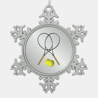Doubles Tennis Sport Theme Silver Pewter Snowflake Decoration