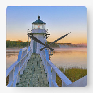 Doubling Point Lighthouse, Maine Square Wall Clock