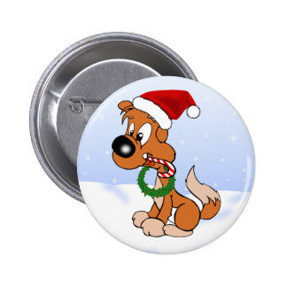 Doug the Dog Merry Christmas Cartoon Pooch 6 Cm Round Badge