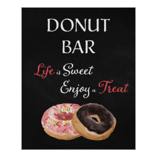 Doughnut Bar Wedding Sign-Life is Sweet Poster