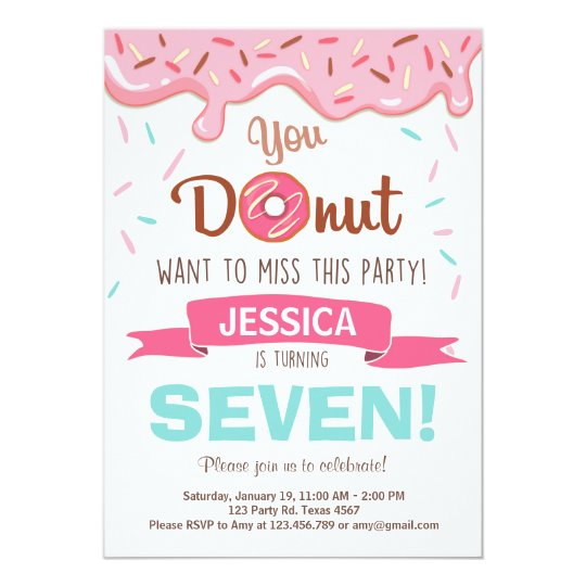 Doughnut Birthday Party Invitation doughnut Party
