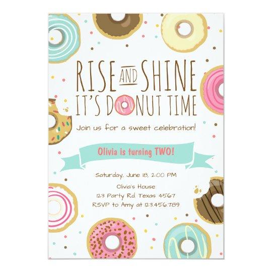 Doughnut Birthday Party Invitation Rise and Shine