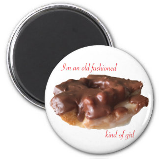Doughnut Chocolate Old Fashion Girl 6 Cm Round Magnet