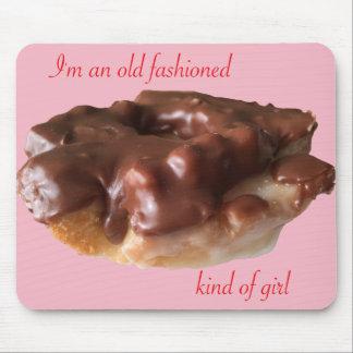 Doughnut Chocolate Old Fashion Girl Mouse Mat