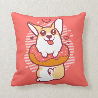 Doughnut Corgi Coral Throw Pillow