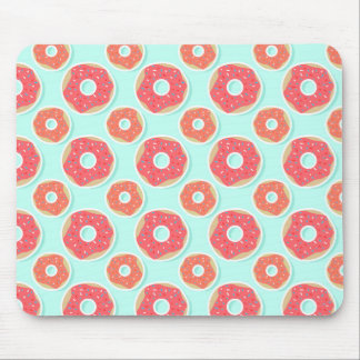 Doughnut Donut Pattern, Pink and Blue Mouse Pad