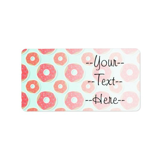 Doughnut Doughnut Pattern, Pink and Blue Address Label