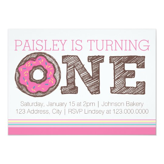 Doughnut First Birthday Invitation - Pink