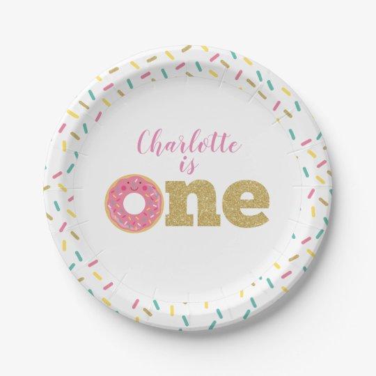 Doughnut First Birthday Paper Plates