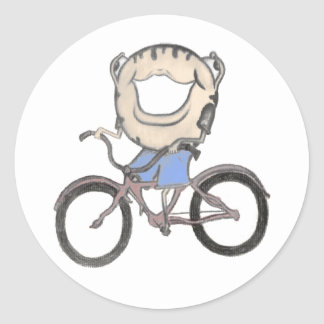 Doughnut Riding a Bicycle Classic Round Sticker