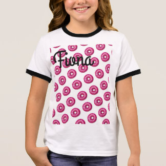 Doughnut shirt with phrase on back.