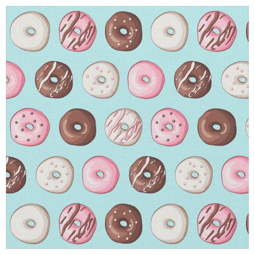 Doughnut Sweets on Blue Fabric Print