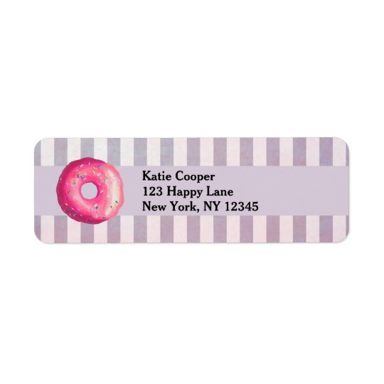 Doughnut With Pink Frosting And Sprinkles Return Address