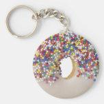 doughnut with sprinkles basic round button key ring