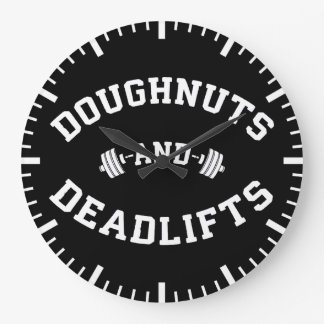 Doughnuts and Deadlifts - Funny Gym Workout Large Clock