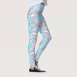 Doughnuts And Drinks Pattern Leggings
