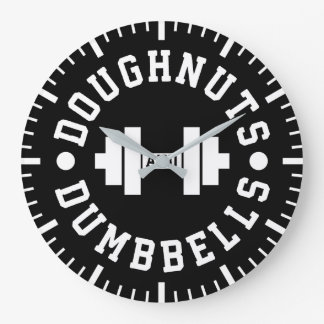 Doughnuts and Dumbbells - Carbs - Funny Workout Large Clock
