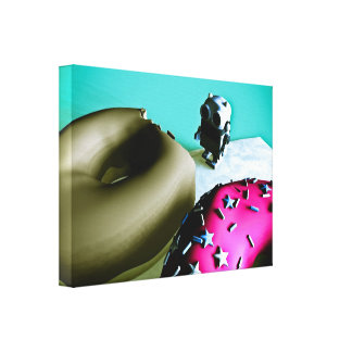 Doughnuts and Toy Robot 02 Stretched Canvas Print
