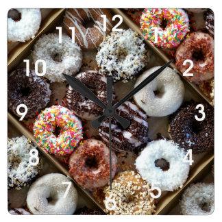 Doughnuts Donuts Photo Square Wall Clock