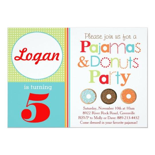 Doughnuts & Pyjamas Party Invitation (Boys)