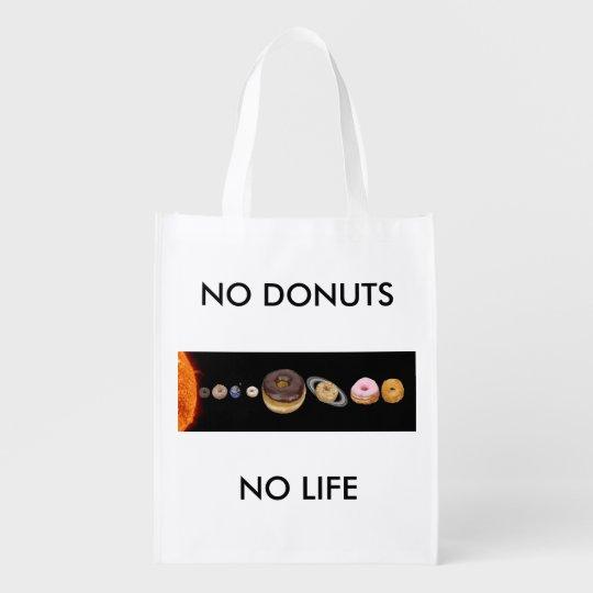 Doughnuts solar system reusable grocery bag