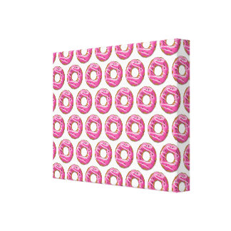 Doughnuts with pink icing stretched canvas print