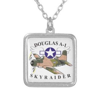 douglas a-1 skyraider square pendant necklace
