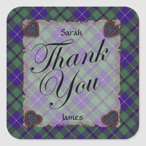 Douglas Scottish clan tartan - Plaid Square Stickers