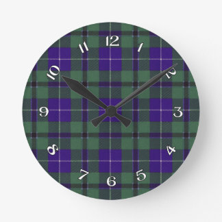 Douglas Scottish Tartan Round Clock
