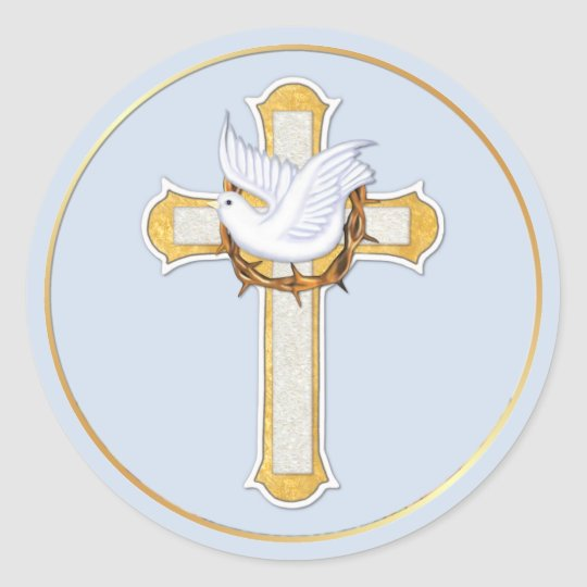 Dove and Cross Classic Round Sticker