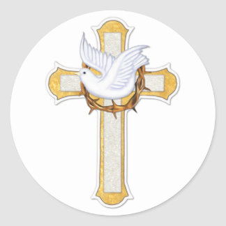 Dove and Cross Round Sticker
