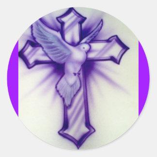 Dove and Cross Round Sticker