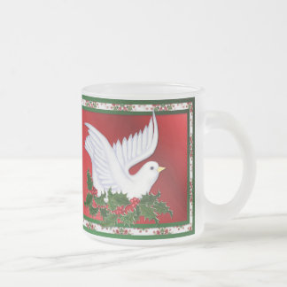 Dove and Holly Frosted Glass Coffee Mug