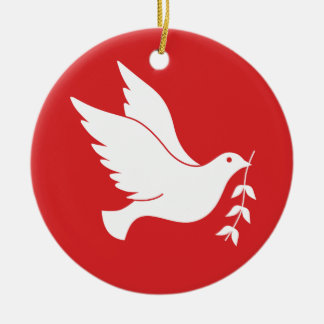Dove and olive branch christmas ornament