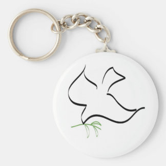 Dove and Olive Branch Image Key Ring