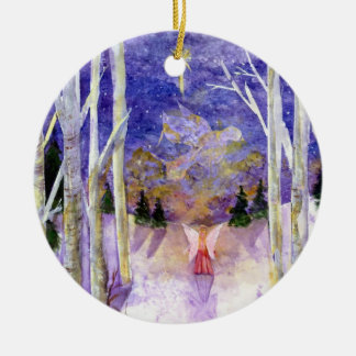Dove Angel Birch Forest Christmas Ornament