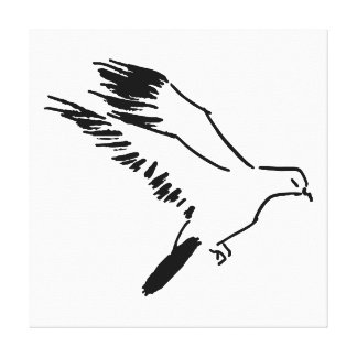 Dove - Black and White Line Drawing Canvas Print