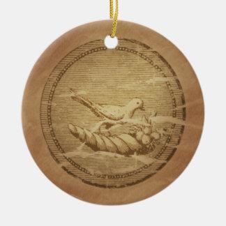 Dove & Cornucopia Good Fortune Round Ceramic Decoration