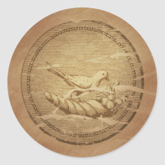 Dove & Cornucopia Good Fortune Round Sticker