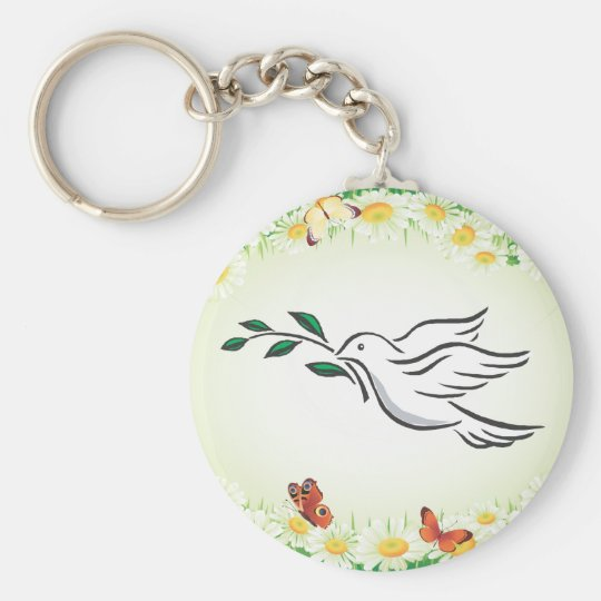 Dove designs basic round button key ring