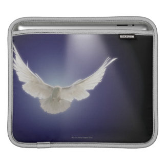 Dove flying through beam of light iPad sleeve