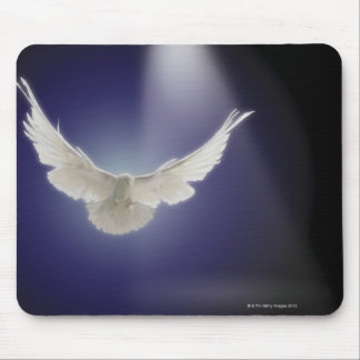 Dove flying through beam of light mouse mat