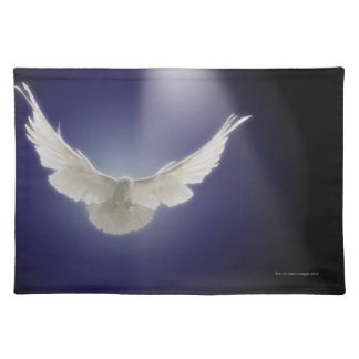 Dove flying through beam of light placemat