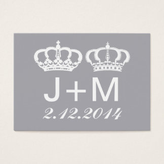 Dove Gray Royal Couple Wedding Place Card