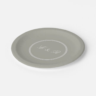 Dove Grey and White Borders and Text 7 Inch Paper Plate